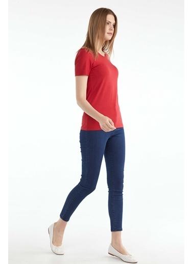 Sementa Sıfır Yaka Kadın Basic T.Shirt  Kırmızı